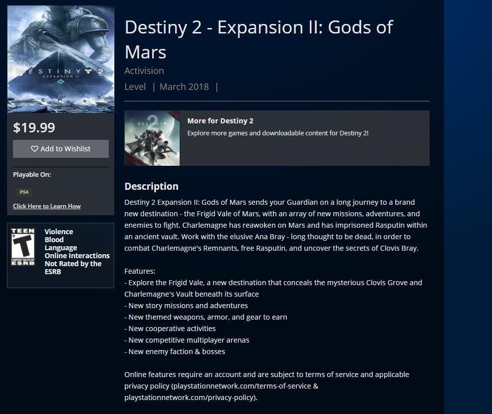 destiny 2 espansione Gods of Mars