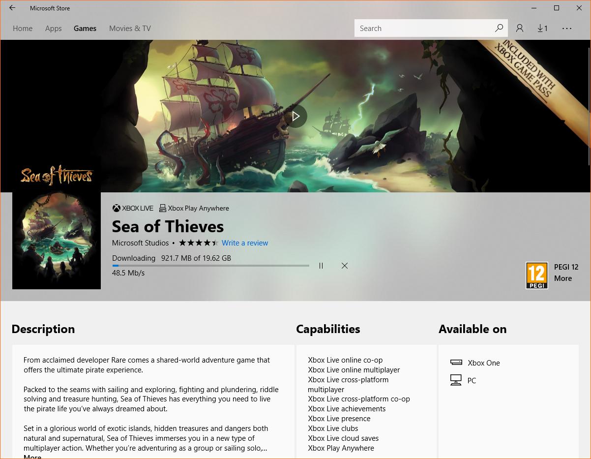 Sea of Thieves gratis Xbox Game Pass