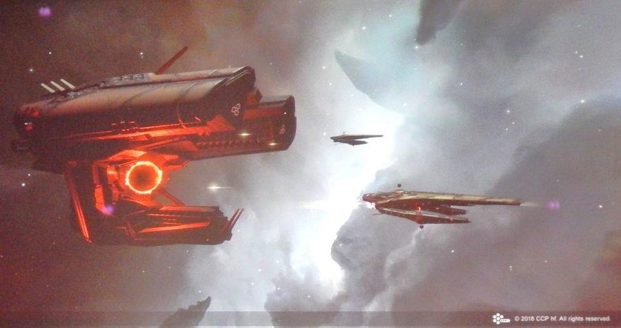EVE Online Una Leshak scortata da due Vedmak nel pieno dell'Abisso
