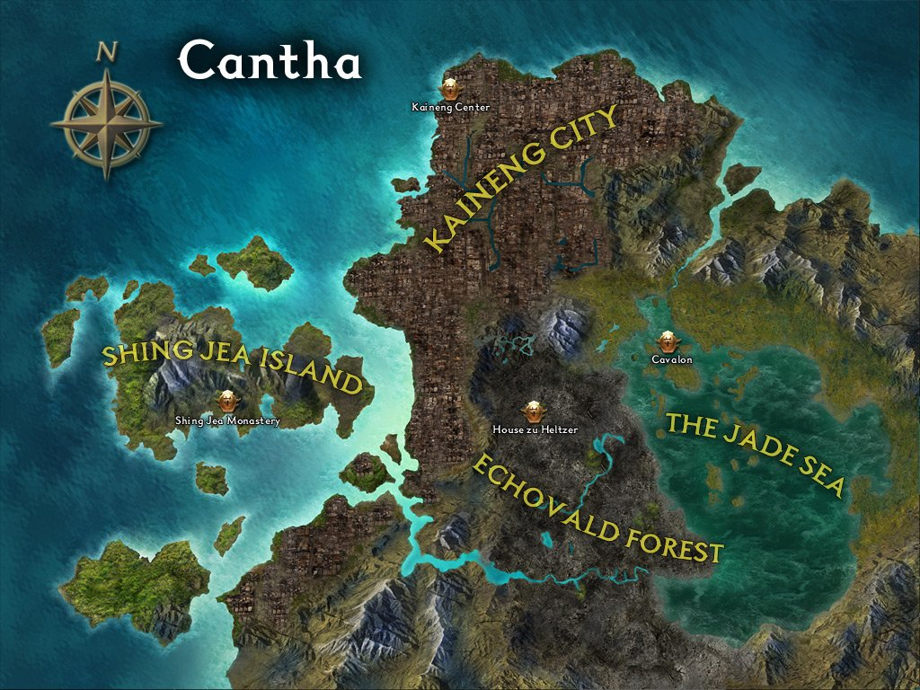 Mappa Cantha Guild Wars 2 espansione Guild Wars factions