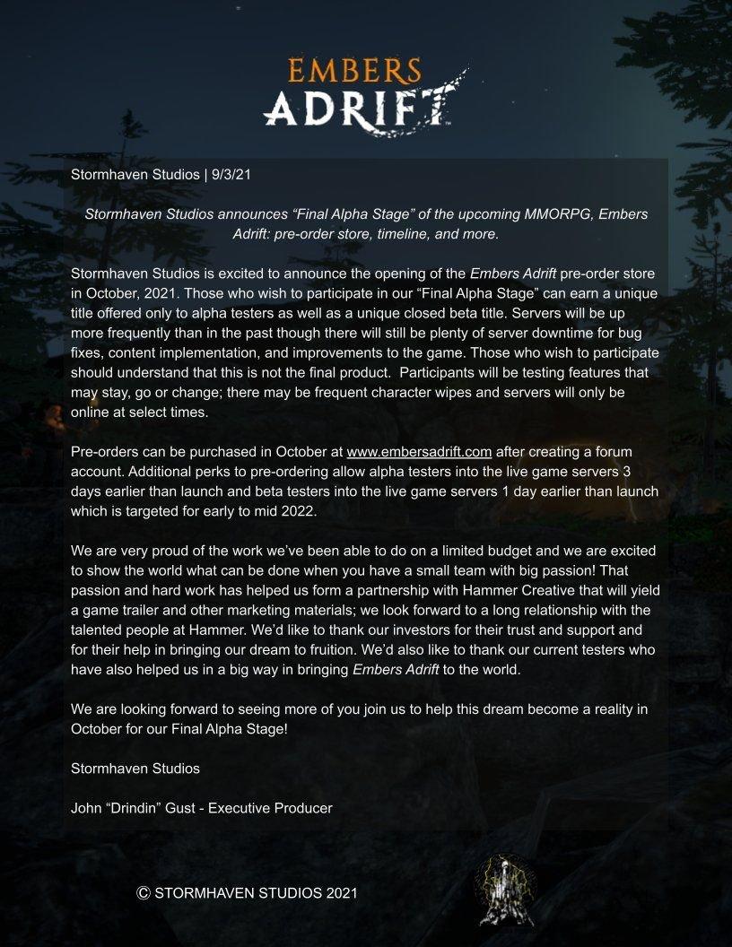 Embers Adrift annunciato i periodi di final alpha, pre order e uscita